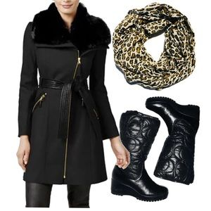 Via Spiga Faux-Fur-leather Trim Wool-Blend Coat